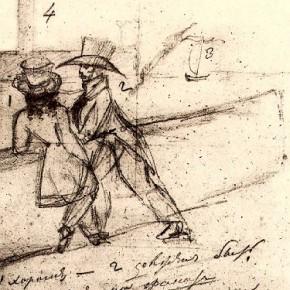 А.С. Пушкин -автопортрет - Онегин на Неве (1824)